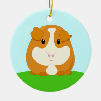 Cute Cartoon Ginger Brown Guinea Pig Double-Sided Ceramic Round Christmas Ornament
