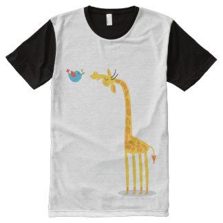 Cute cartoon giraffe and bird All-Over-Print T-Shirt