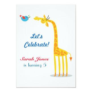 Cute cartoon giraffe and bird card