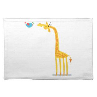 Cute cartoon giraffe and bird cloth placemat