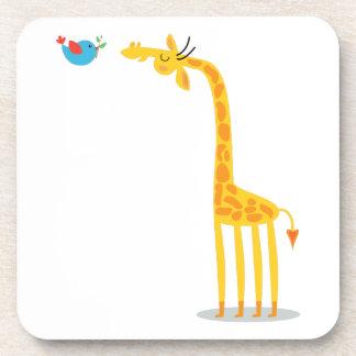 Cute cartoon giraffe and bird coaster