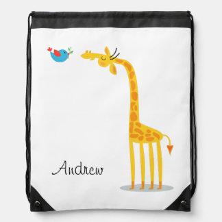 Cute cartoon giraffe and bird drawstring backpack