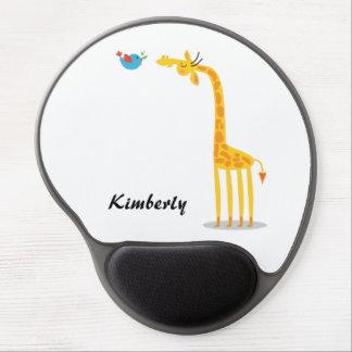 Cute cartoon giraffe and bird gel mouse pad
