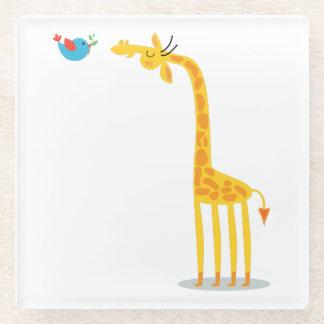 Cute cartoon giraffe and bird glass coaster