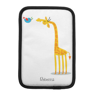 Cute cartoon giraffe and bird iPad mini sleeve