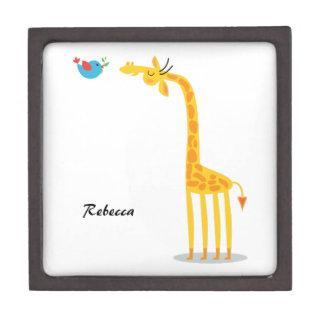 Cute cartoon giraffe and bird keepsake box