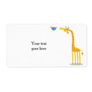 Cute cartoon giraffe and bird label