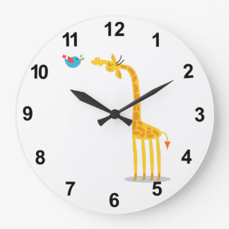 Cute cartoon giraffe and bird large clock