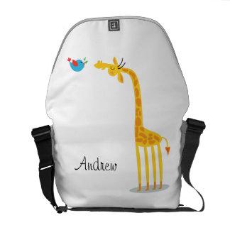 Cute cartoon giraffe and bird messenger bag