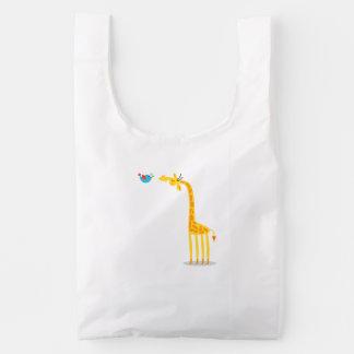 Cute cartoon giraffe and bird reusable bag