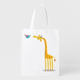 Cute cartoon giraffe and bird reusable grocery bags