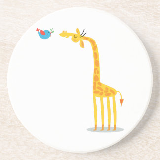 Cute cartoon giraffe and bird sandstone coaster