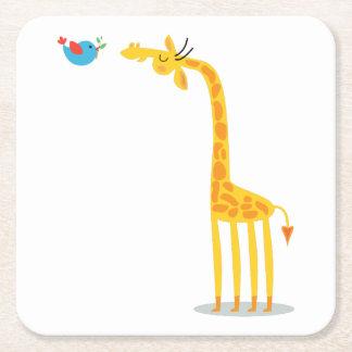 Cute cartoon giraffe and bird square paper coaster