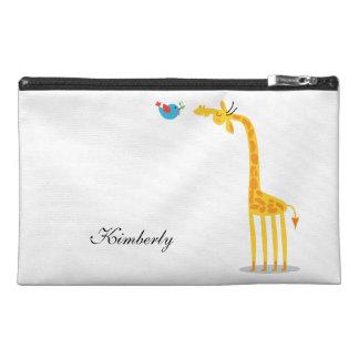 Cute cartoon giraffe and bird travel accessory bag