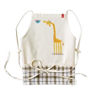 Cute cartoon giraffe and bird zazzle HEART apron