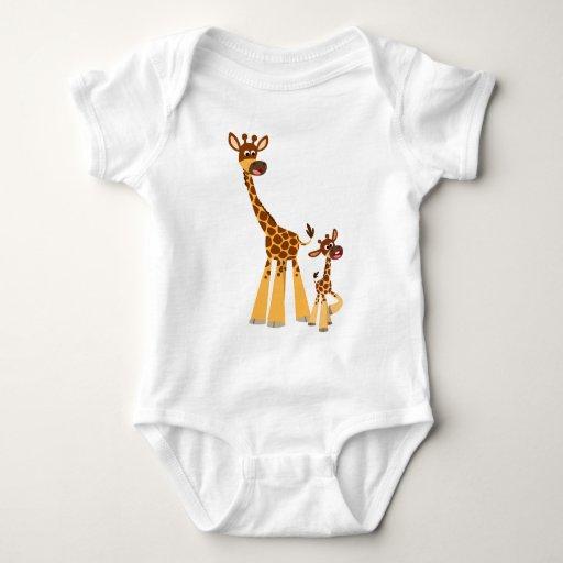 Cute Cartoon Giraffe and Calf  Baby Tee Shirt