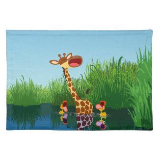 Cute Cartoon Giraffe and Ducklings Placemat Cloth Place Mat