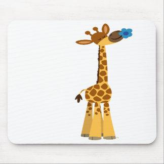 Cute Cartoon Giraffe and Flower Mousepad