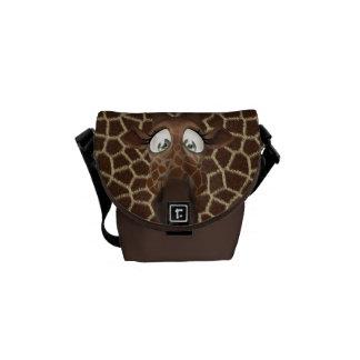 Cute Cartoon Giraffe & Animal Print Messenger Bag