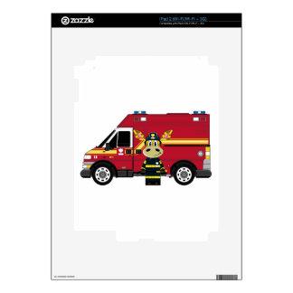 Cute Cartoon Giraffe Fireman iPad 2 Decal