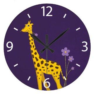 Cute Cartoon Giraffe Flowers Purple Wallclock