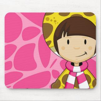 Cute Cartoon Giraffe Girl Pattern Mouse Pad