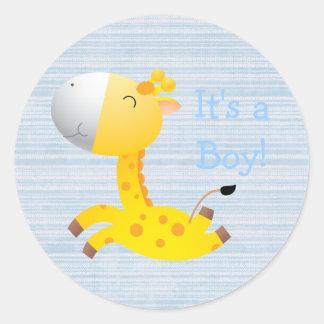 Cute Cartoon Giraffe It's A Boy New Baby Classic Round Sticker