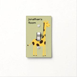 Cute Cartoon Giraffe Kid s Custom Name Room Light Switch Cover