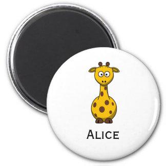 Cute Cartoon Giraffe Magnet with Child's Name