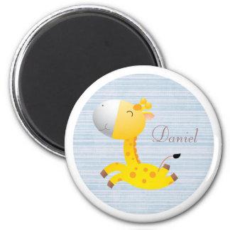 Cute Cartoon Giraffe Personalized Blue & White Magnet