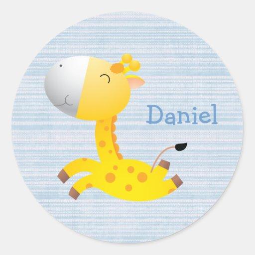 Cute Cartoon Giraffe Personalized Round Sticker