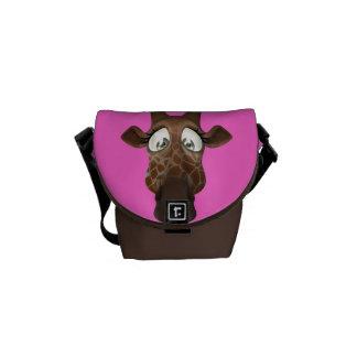 Cute Cartoon Giraffe Pink & Brown Messenger Bag