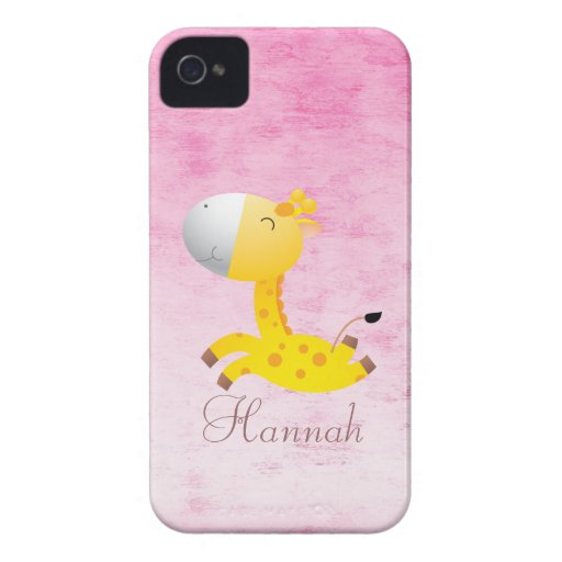 Cute Cartoon Giraffe Pretty Pink Personalized iPhone 4 Cases