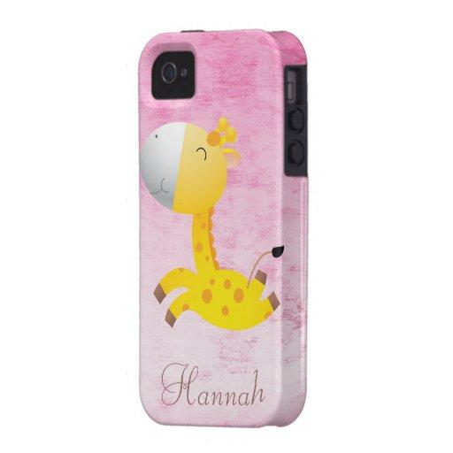 Cute Cartoon Giraffe Pretty Pink Personalized Case-Mate iPhone 4 Cases