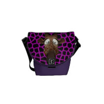 Cute Cartoon Giraffe & Purple Faux Fur Pattern Messenger Bag