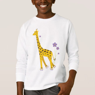 Cute Cartoon Giraffe Skating Kids Long Sleeve T-Shirt