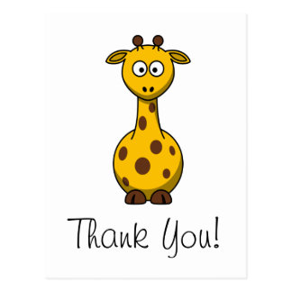 Cute Cartoon Giraffe Thank You Card