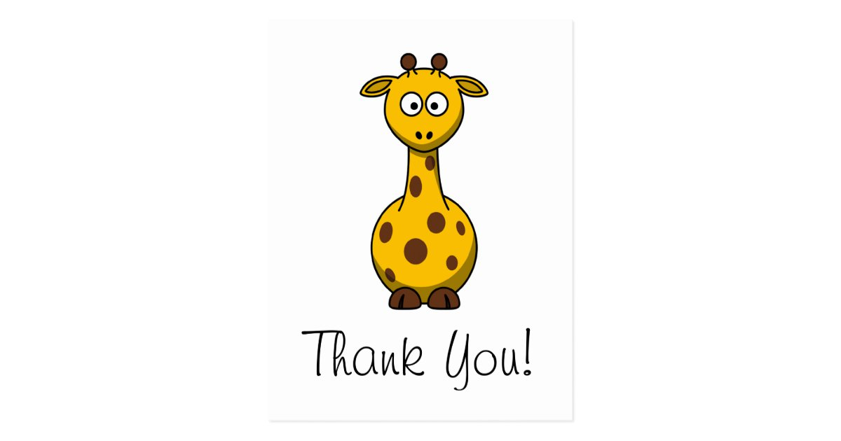 Cute Cartoon Giraffe Thank You Card | Zazzle