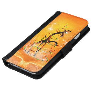 Cute cartoon giraffe with christmas tree iPhone 6/6s wallet case