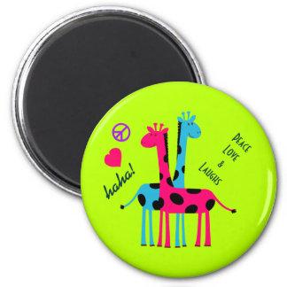 Cute Cartoon Giraffes, peace love and laughs Magnet