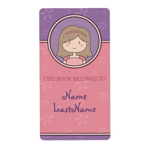 Cute Cartoon Girl Custom Bookplates / Ex Libris Custom Shipping Label