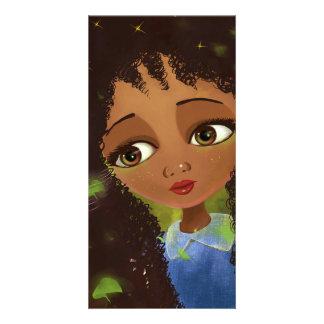 cute cartoon girl green eyes card