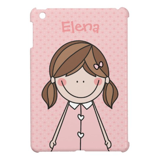 Cute Cartoon Girl in Pigtails (Pink) Case For The iPad Mini