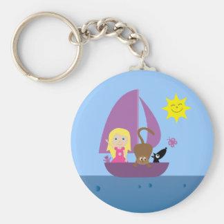 Cute Cartoon Girl & Pets In Boat Custom Keychain