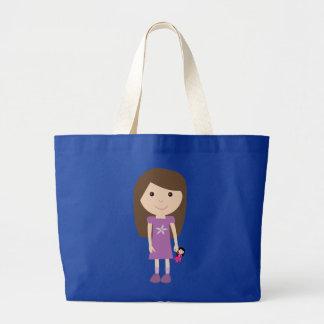Cute cartoon girl with doll blue tote bag