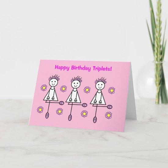 Cute Cartoon Girls Triplets Pink Birthday Card