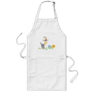 Cute Cartoon Goat and Flowers Cooking Apron