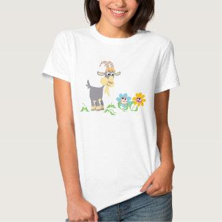 Cute Cartoon Goat and Flowers Women T-Shirt