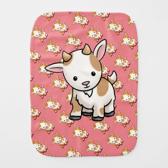 Cute Cartoon Goat | Baby Burp Cloth