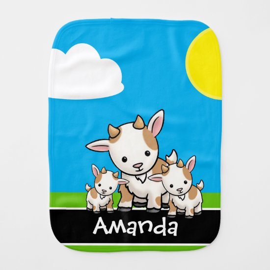 Cute Cartoon Goat Family | Cute Baby Burp Cloth